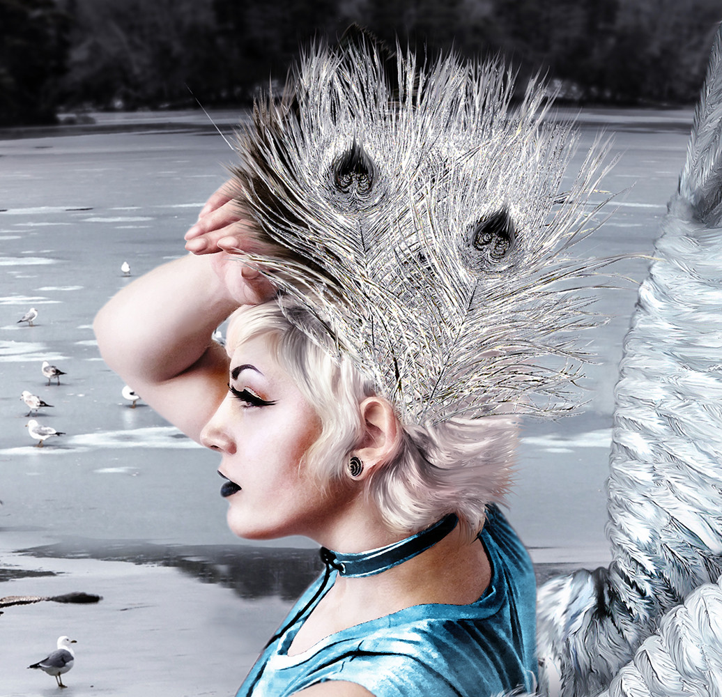 Girl with white feather crown