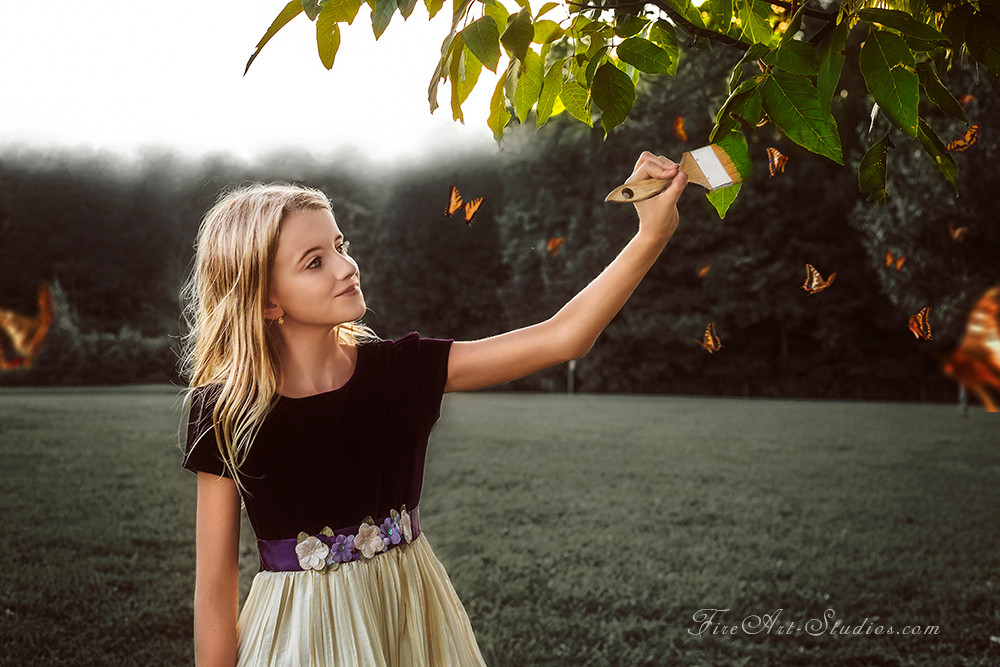 Fine Art children portraits with photo manipulation and compositing. Young artist painting and coloring the tree.
