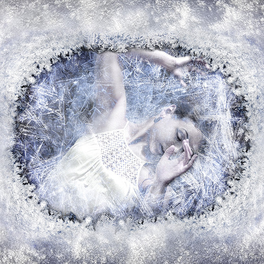 Girl under ice and snow
