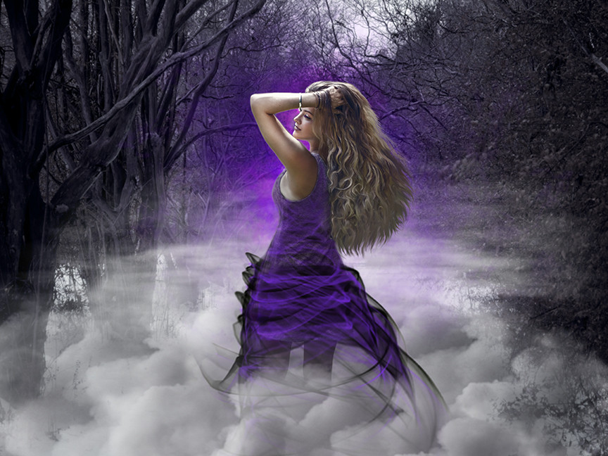Sorceress in the misty woods