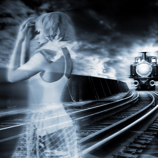 Ghostly girl and a train