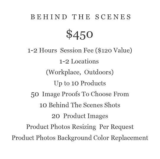 BEHIND THE SCENES PRODUCT  PHOTOGRAPHY PRICING
