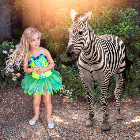 Fine Art children portraits with photo manipulation and compositing. Little girl with a zebra.