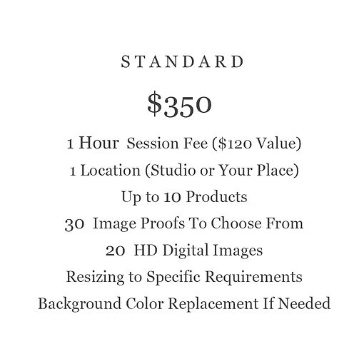 STANDARD PACKAGE PRODUCT PHOTOGRAPHY PRICING