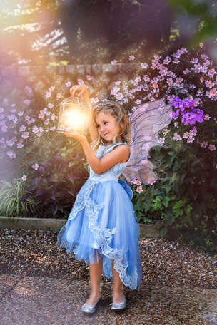 Fine Art children portraits with photo manipulation and compositing. Little fairy with a fairy dust.