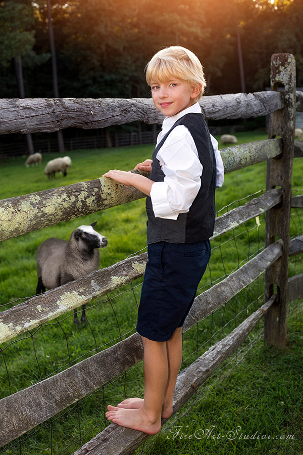 Family & Children photography. Outdoor shoot with artistic vintage flair. Little boy with sheep during sunset.