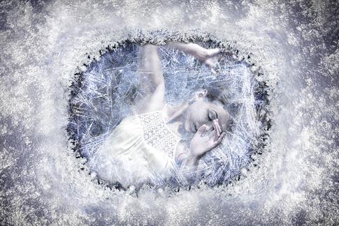 Frozen emotions. Women under the ice.