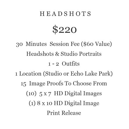 HEADSHOT PACKAGE BUSINESS  PRICING