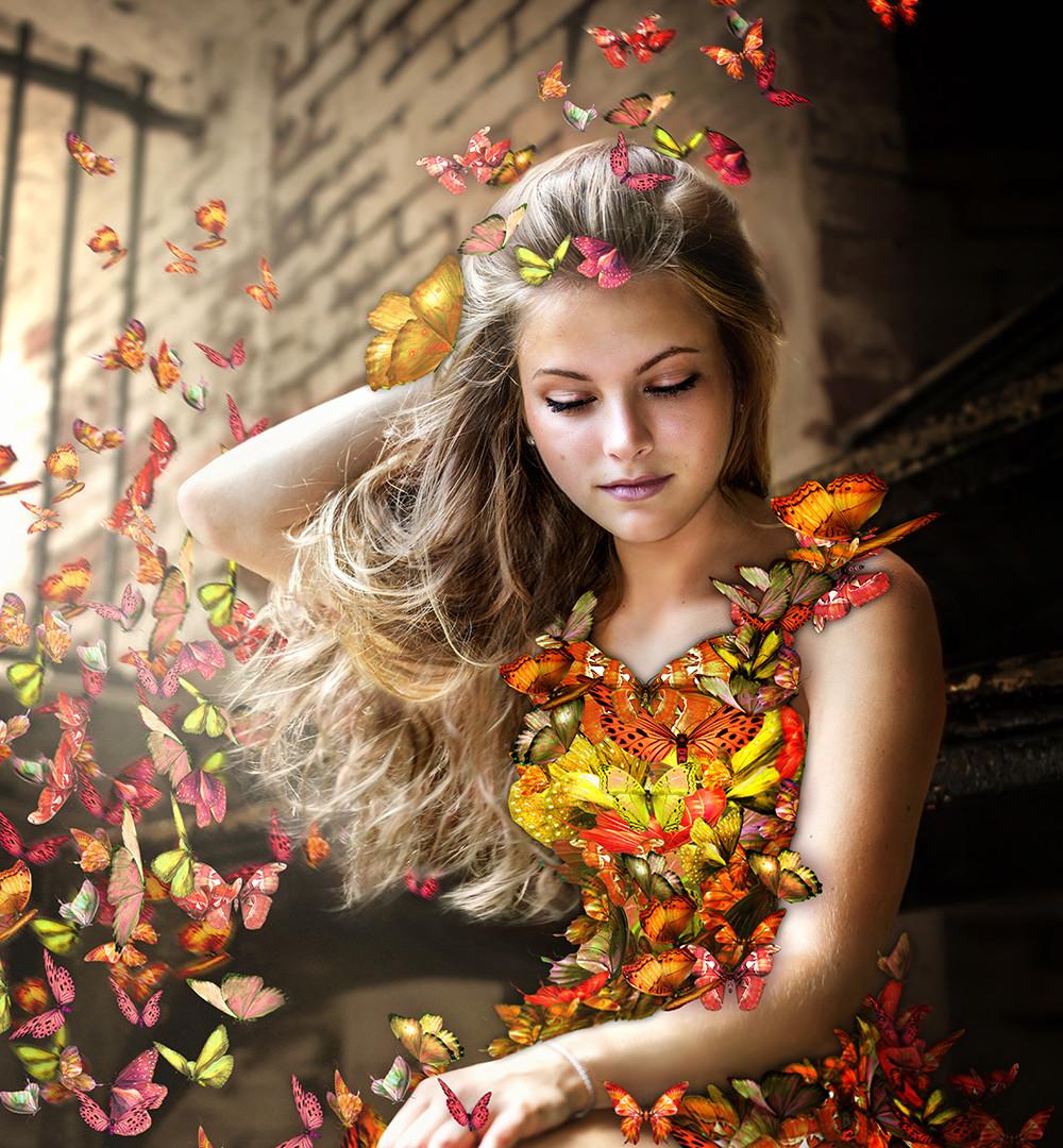 Girl in a butterfly dress