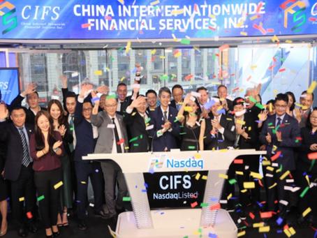 China Internet Nationwide Financial Services Inc. Rings Nasdaq MarketSite Closing Bell
