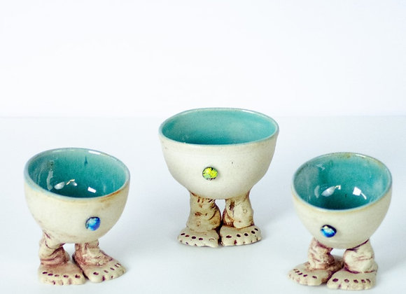 Funky little footed bowls with dichroic glass belly buttons