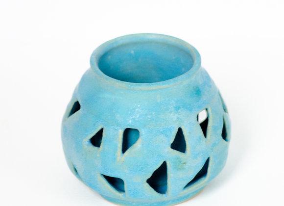 Double walled vase in Blue - Green Satin Glaze