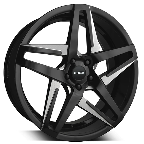 18x8.5 HPD Wheels Hairpin Satin Black With Milled Face