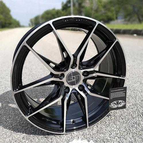 19x8.5 305Forged Rims Flow Technik FT113 Gloss Black Black Clear