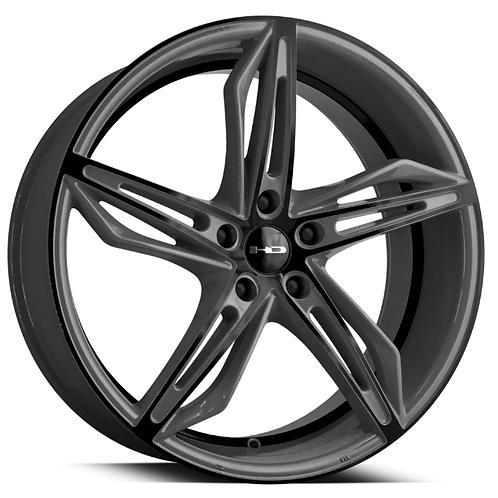 20x8.5 HPD Wheels Fly Cutter Shark Skin Grey w/ Black ED Coated Face