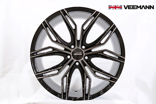 18x8.0 Veemann Rims VFS-43F Black Machined Black Clear