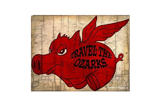 Travel The Ozarks- Flying Hog -  Poster
