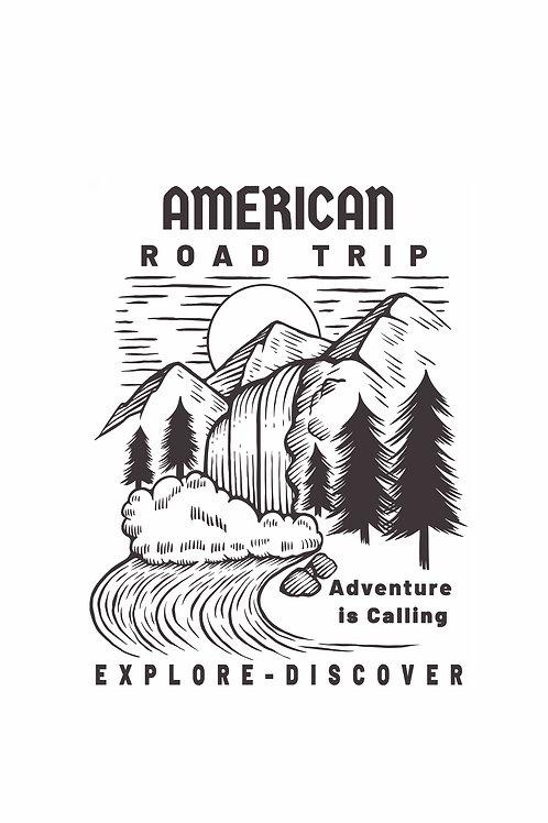 American Road Trip  T-Shirt - Mountain Waterfall