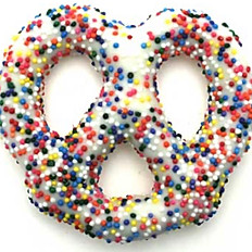 Pretzels Covered on White Chocolate and Nonpareils