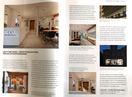 """Veröffentlichung . Magazin """"Netzwerk Licht"""" . Optikhaus Austermann"""