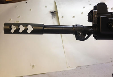 """Brubaker Arms custom muzzle brakes made & timed to your gun best design for reducing felt recoil, taken from old tank brake designs.  Brubaker Arms muzzlebreak turned between centers, can be profiled to match barrels .650"""" and larger. Top quality work"""