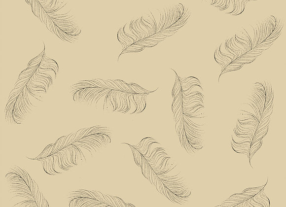 Small Feather Fabric -Linen