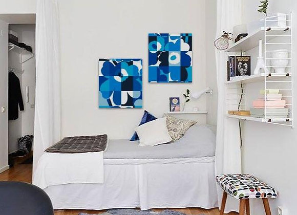 Blue Unikko Flowers 55x65
