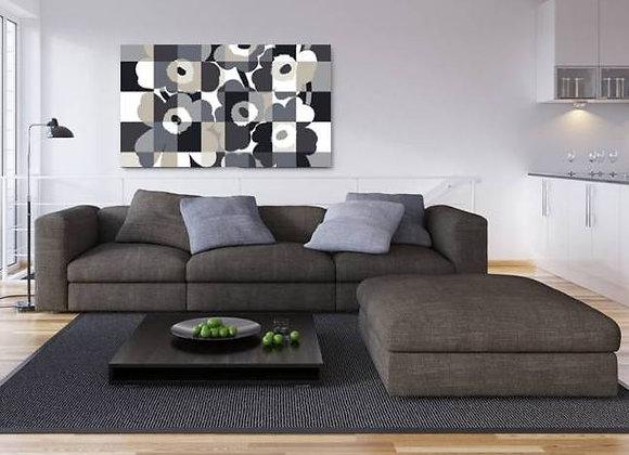 Black Unikko Flowers 45x60