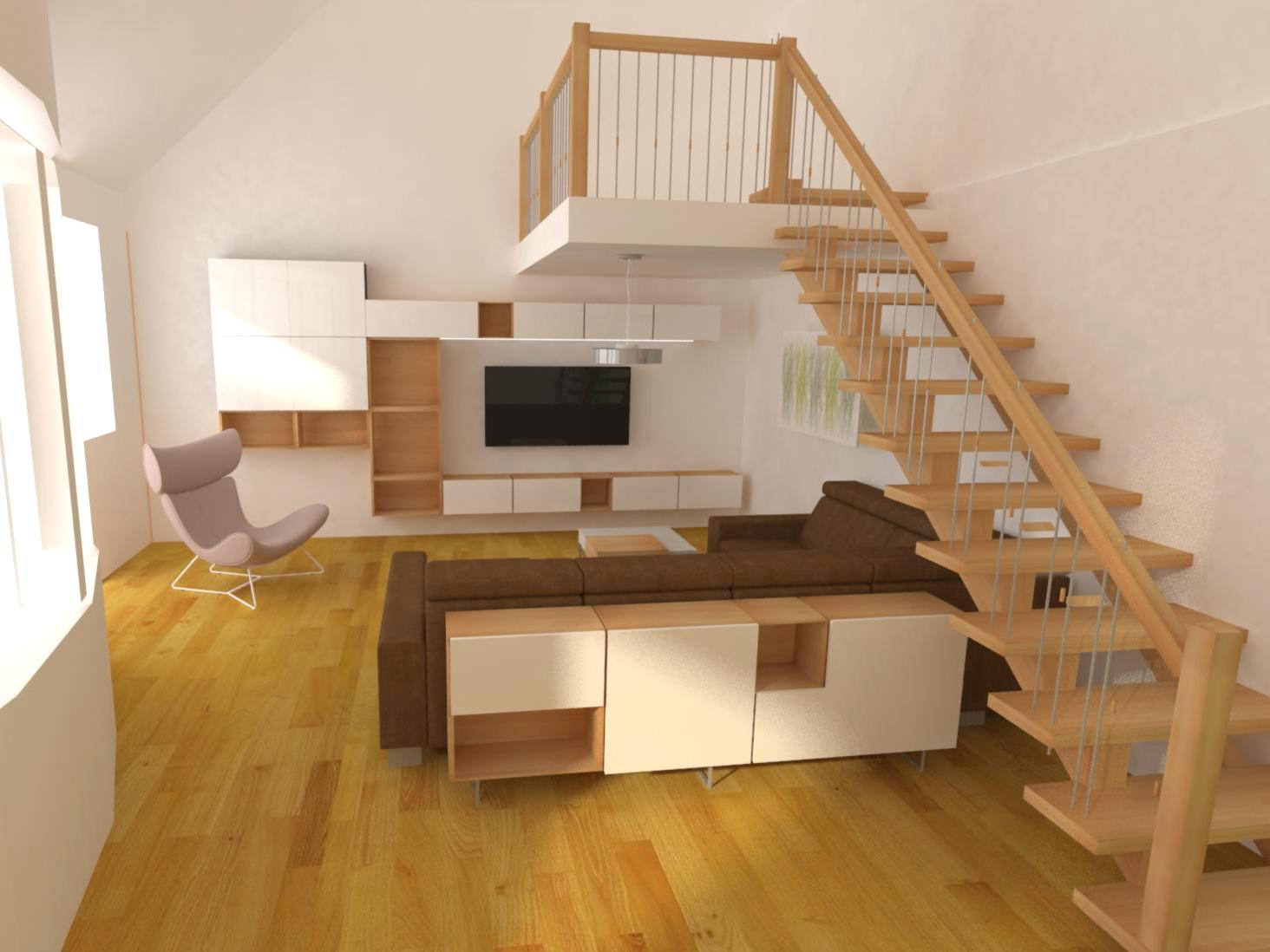 Obývací pokoj v mezonetovém bytě