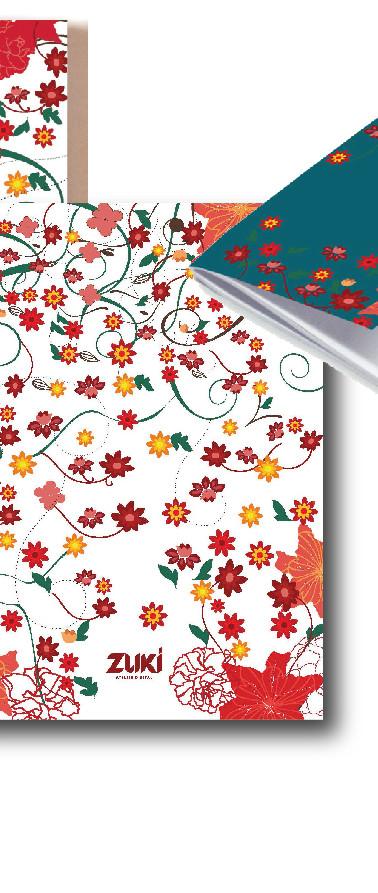 papelaria flor oriente vermelha