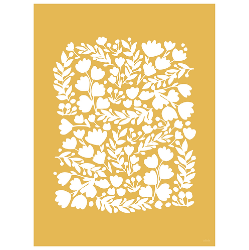 floral cutout art print - mustard - digital download