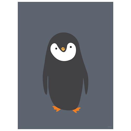 penguin art print - grey navy - digital download