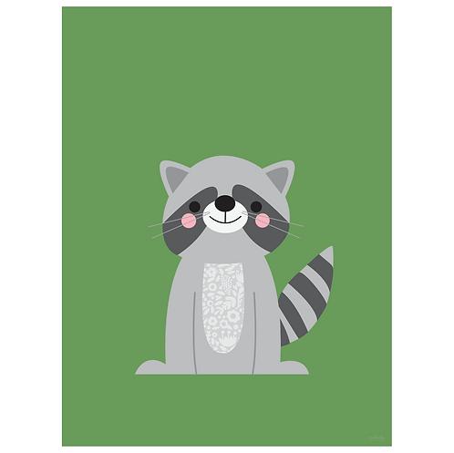 raccoon art print - green - digital download