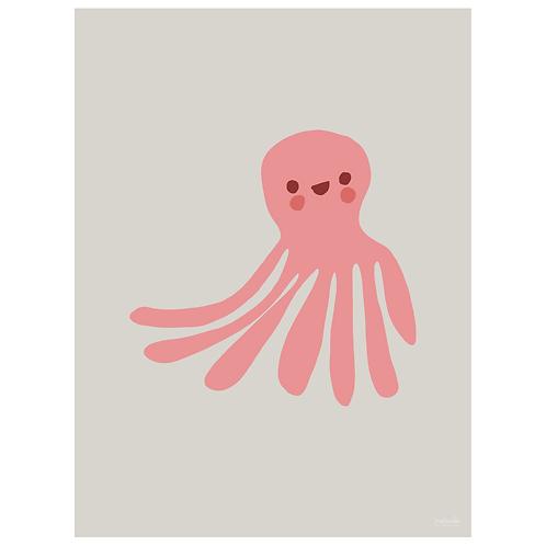 octopus art print - grey - digital download