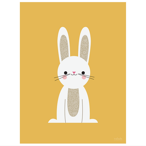 bunny art print - mustard - digital download