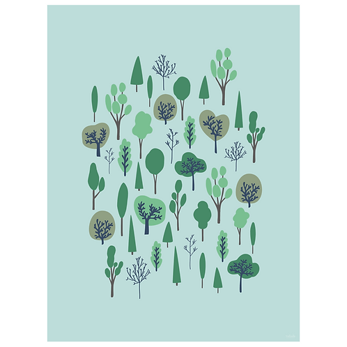 forest vertical art print - powder blue - digital download