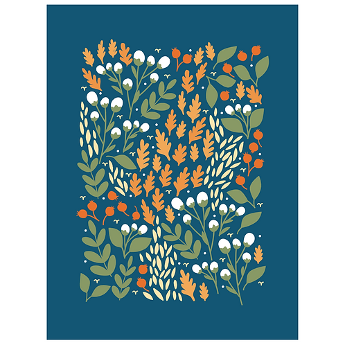 pom and cotton floral - navy
