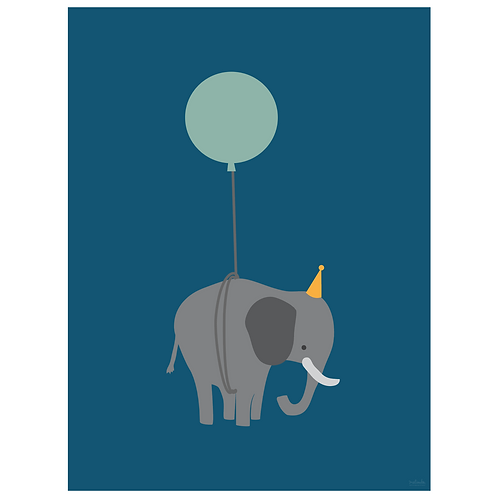 elephant on balloon art print - navy - digital download