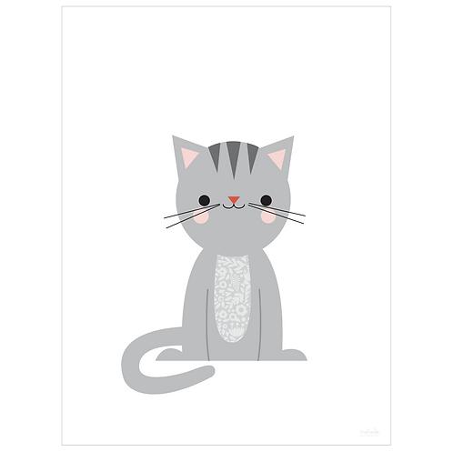 calico cat art print - white - digital download