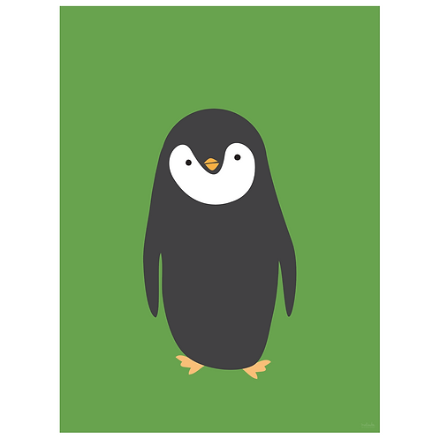 penguin art print - green - digital download