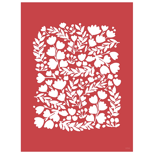floral cutout art print - berry - digital download