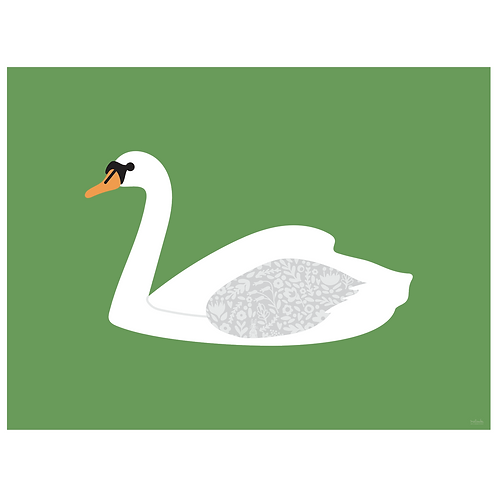 swan art print - green - digital download