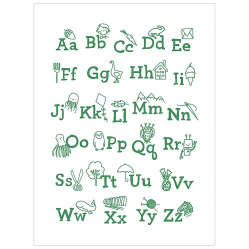 ABCs art print - green on white - digital download