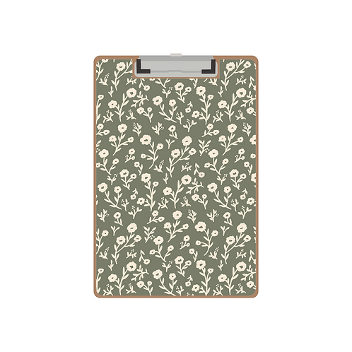 CLIPBOARD tiny colonial floral green pattern
