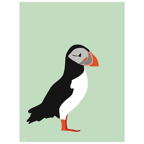 puffin art print - mint - digital download