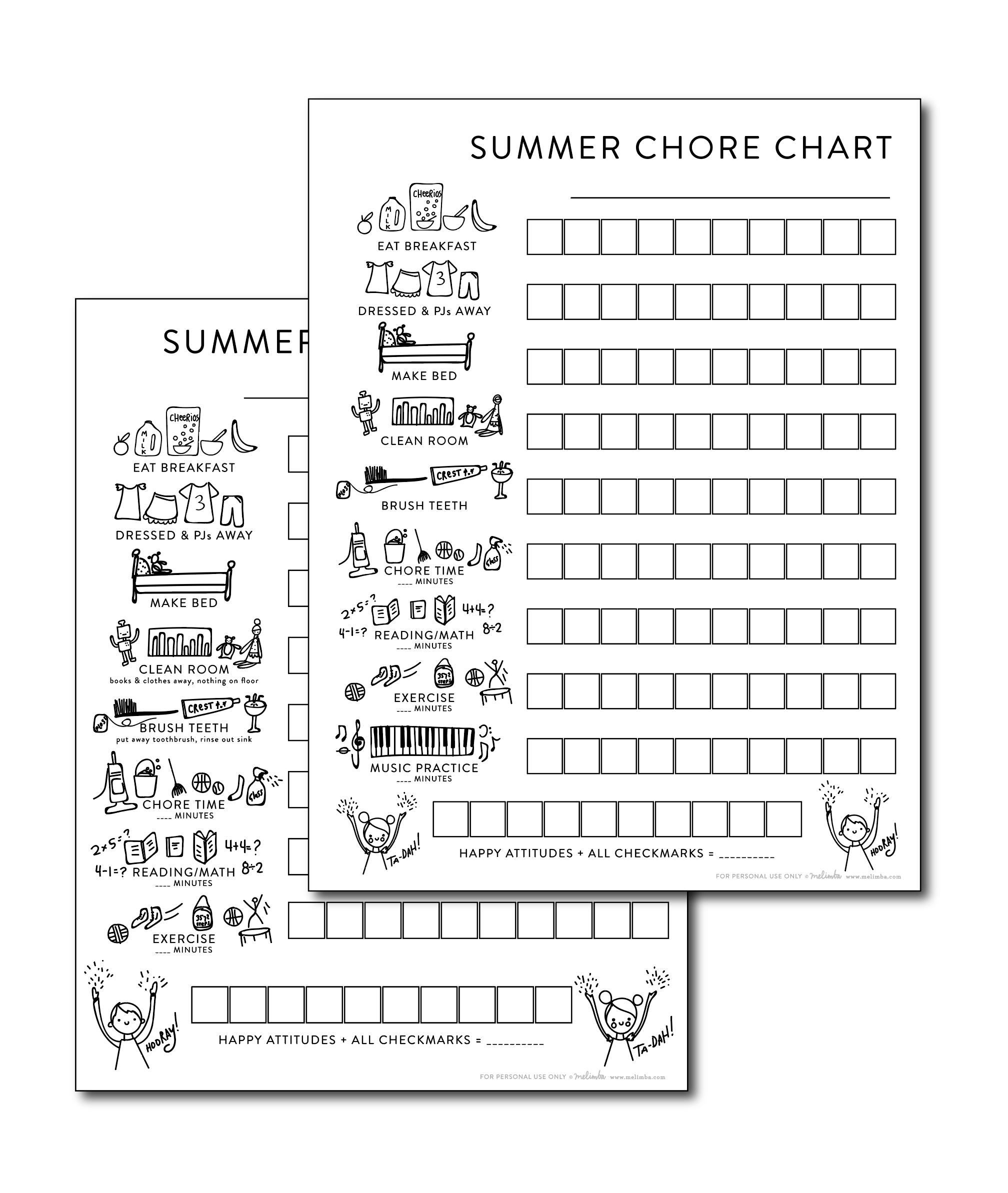 melimba chore chart product shot website