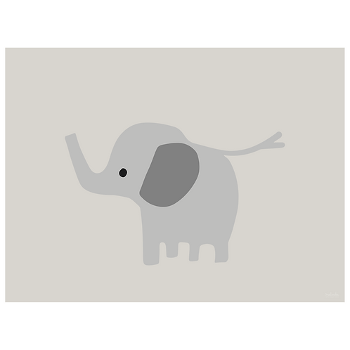baby elephant art print - grey - digital download
