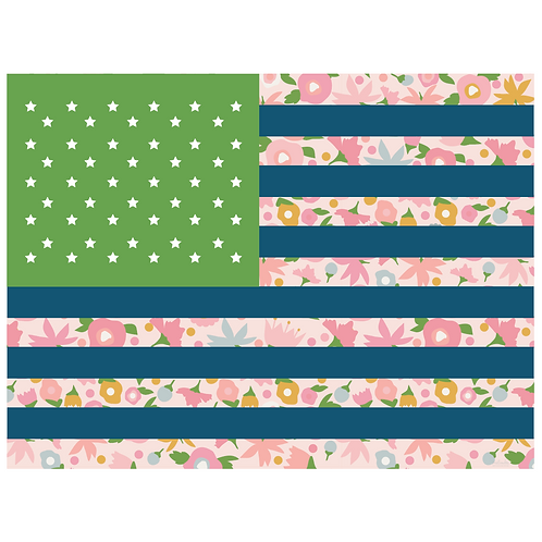 flag art print - tiny floral pink with green & navy - digital download
