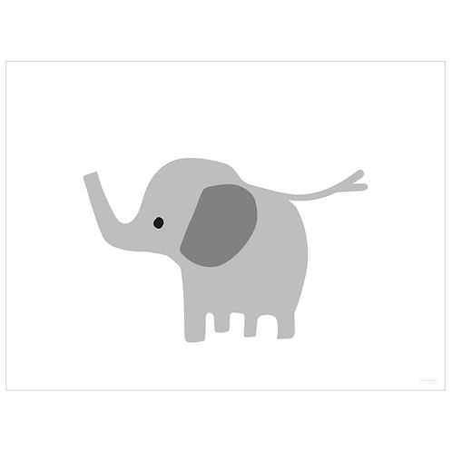 baby elephant art print - white - digital download