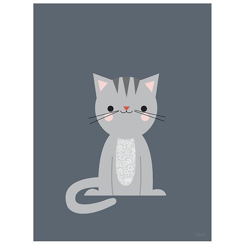 calico cat art print - navy - digital download